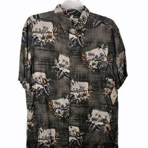 New! Island Shores Hawaiian Shirt Gray Button L